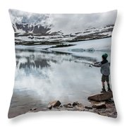 Boys Fish In Superior Lake During A Six Throw Pillow