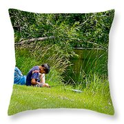 Boys Fishing In Pipestone National Monument-minnesota Throw Pillow