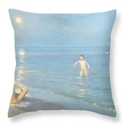 Boys On The Seashore In A Summer Night At Skagen 1899  Throw Pillow