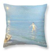 Boys On The Seashore In A Summer Night At Skagen 1899  Throw Pillow
