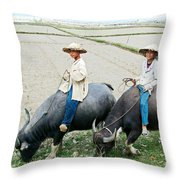 Boys On Water Buffalo In Countryside-vietnam Throw Pillow