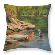 Boys Playing In The Creek Throw Pillow