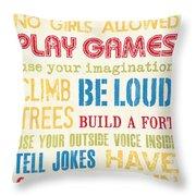 Boys Rules Throw Pillow