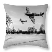 Low-flying Spitfires Black And White Version Throw Pillow
