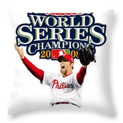 Brad Lidge Ws Champs Logo Throw Pillow