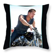 Actor - Brad Pitt On His Harley Throw Pillow