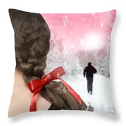 Braided Hair With Red Ribbon Throw Pillow