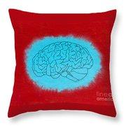 Brain Blue Throw Pillow
