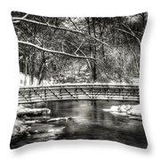 Brainards Bridge After A Snow Storm 3 Throw Pillow