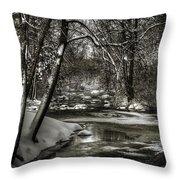 Brainards Bridge After A Snow Storm 4 Throw Pillow