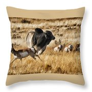 Brahma Bull Meets The Pronghorn Throw Pillow