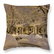 Branches And Snow Mounds Throw Pillow