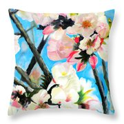Branches Of Almond Tree Throw Pillow