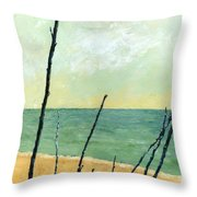 Branches On The Beach - Oil Throw Pillow