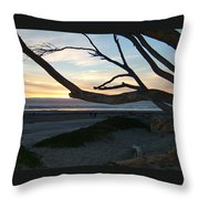 Branches Over The Beach Throw Pillow