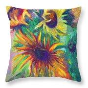 Brandy's Sunflowers - Still Life On Windowsill Throw Pillow by Talya Johnson