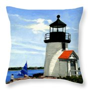 Brant Point Lighthouse Nantucket Massachusetts Throw Pillow