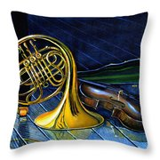 Brass And Strings Throw Pillow