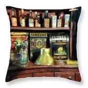 Brass Funnel And Spices Throw Pillow by Susan Savad