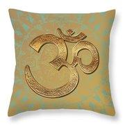 Gold Brass Om Mandala Throw Pillow