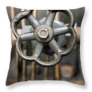 Brass Valve Throw Pillow