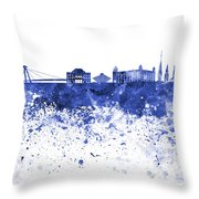 Bratislava Skyline In Blue Watercolor On White Background Throw Pillow