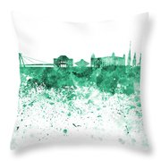 Bratislava Skyline In Gree Watercolor On White Background Throw Pillow
