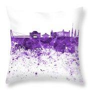 Bratislava Skyline In Purple Watercolor On White Background Throw Pillow