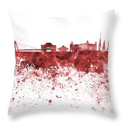 Bratislava Skyline In Red Watercolor On White Background Throw Pillow