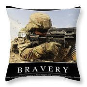 Bravery Inspirational Quote Throw Pillow by Stocktrek Images