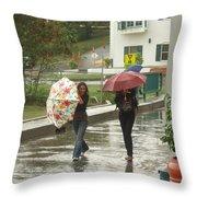 Braving The Rain Throw Pillow