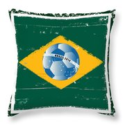 Brazil Flag Like Stamp In Grunge Style Throw Pillow