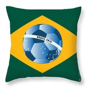 Brazil Flag With Ball Throw Pillow