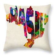 Brazil Typographic Watercolor Map Throw Pillow