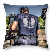 Breaching With Baton Rouge Swat Throw Pillow