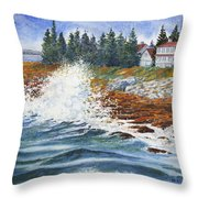 Breakers At Pemaquid Throw Pillow
