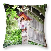 Breakfast At The Birdhouse Throw Pillow