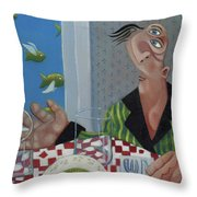 Breakfast In Barbados 1989 Throw Pillow by Larry Preston