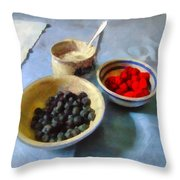 Breakfast In Red White And Blue Throw Pillow