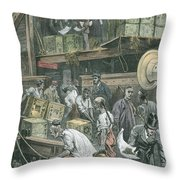 Breaking Bulk On Board A Tea Ship Throw Pillow