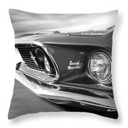 Breaking The Sound Barrier - Mach 1 428 Cobra Jet Mustang In Black And White Throw Pillow