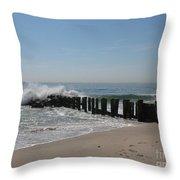Breakwater At New Jersey Shore Throw Pillow