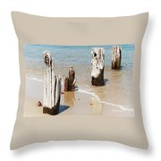 A Unique Breakwater On Martha's Vineyard  Throw Pillow