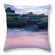 Breakwater Rocks At Sunset Beach Cape May Throw Pillow