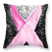 Breast Cancer Awareness Ribbon Throw Pillow