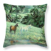 Breathing In Strength Unsaddled Throw Pillow