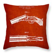 Breech Loading Gun Patent Drawing From 1883 - Red Throw Pillow