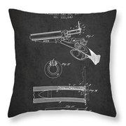 Breech Loading Shotgun Patent Drawing From 1879 - Dark Throw Pillow