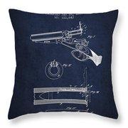 Breech Loading Shotgun Patent Drawing From 1879 - Navy Blue Throw Pillow