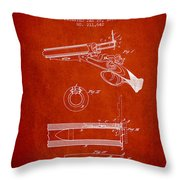 Breech Loading Shotgun Patent Drawing From 1879 - Red Throw Pillow